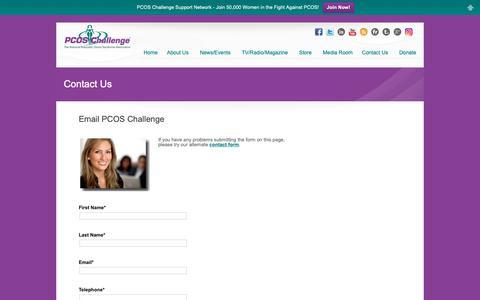 Screenshot of Contact Page pcoschallenge.org - Contact PCOS Challenge, Inc. - captured Oct. 19, 2018