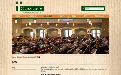 Screenshot of FAQ Page crossroadspres.org - FAQ - Crossroads - captured Nov. 2, 2014