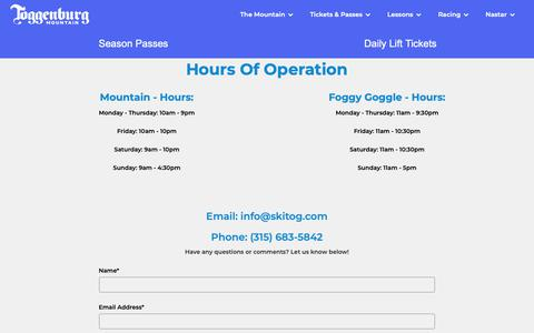 Screenshot of Contact Page Hours Page skitog.com - Hours Of Operation - captured Oct. 30, 2018