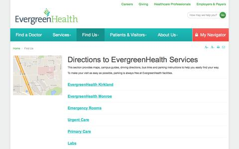 Screenshot of Locations Page evergreenhealth.com - Directions to EvergreenHealth Services | EvergreenHealth - captured Aug. 31, 2017