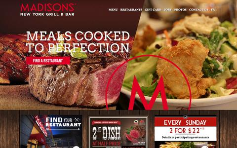 Screenshot of Home Page madisonsnyc.com - New York Grills | Bars | Madisons Restaurant - Madisons - captured Oct. 4, 2014