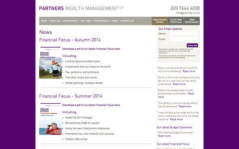 Screenshot of Press Page partnerswealthmanagement.co.uk - Partners Wealth Management   News   Partners Wealth Management - captured Sept. 29, 2014