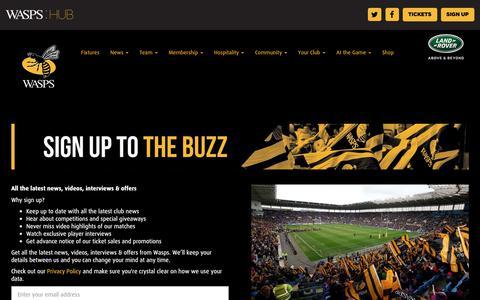 Screenshot of Signup Page wasps.co.uk - Newsletter - captured Nov. 5, 2018