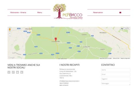 Screenshot of Contact Page perbaccolocorotondo.it - PerBacco Locorotondo Contact | - captured Nov. 1, 2014