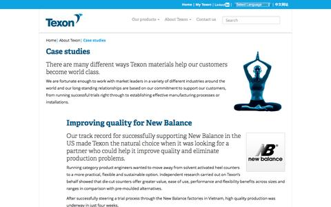 Screenshot of Case Studies Page texon.com - Case studies – Texon - captured Dec. 22, 2016