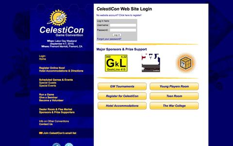 Screenshot of Login Page celesticon.com - CelestiCon Game Convention - captured Oct. 2, 2014