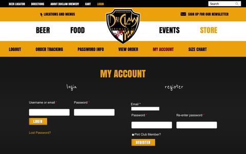 Screenshot of Login Page duclaw.com - My Account | DuClaw Brewing Company - captured Oct. 5, 2014