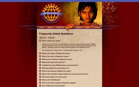 Screenshot of FAQ Page nationsforjesus.org - Frequently asked questions about Nations for Jesus (NFJ) I Nations for Jesus - captured Oct. 9, 2014