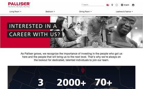 Screenshot of Jobs Page palliser.com - Careers - Palliser Furniture - captured Jan. 18, 2018