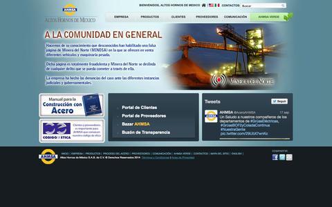 Screenshot of Home Page ahmsa.com - AHMSA | Sitio Oficial - captured Sept. 22, 2014