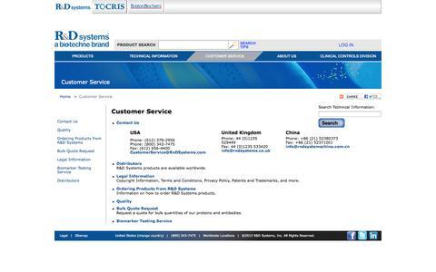 Screenshot of Support Page rndsystems.com - Customer Service - captured Sept. 23, 2014