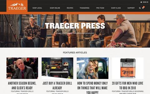 Screenshot of Press Page traegergrills.com - Traeger Press | Traeger Wood Fired Grills - captured Jan. 21, 2019