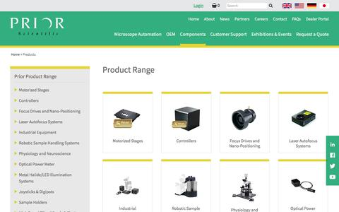 Screenshot of Products Page prior.com - Product Range | Prior Scientific - captured Feb. 15, 2018