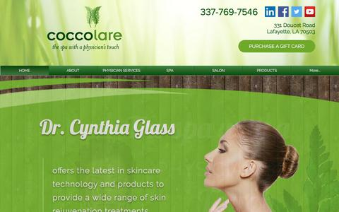 Screenshot of Home Page coccolarespa.com - Medical Aesthetics | Lafayette | Coccolare Spa - captured July 19, 2018