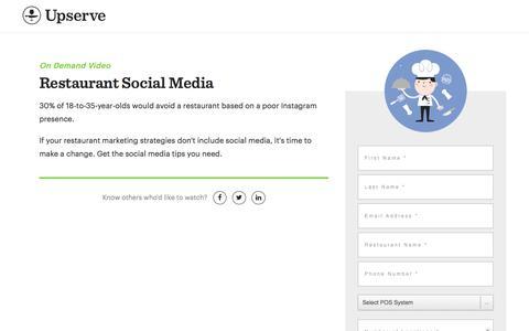 Screenshot of Landing Page upserve.com - Restaurant Social Media Tips On Demand   Upserve - captured April 9, 2018
