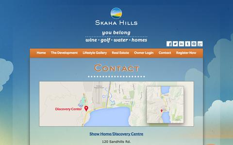 Screenshot of Contact Page skahahills.com - Contact | Skaha Hills Penticton Real Estate for Sale - captured Oct. 26, 2014