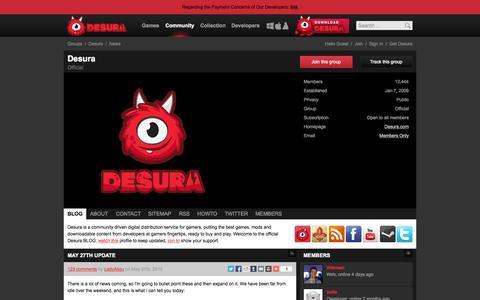 Screenshot of Blog desura.com - News - Desura | Desura - captured June 17, 2015