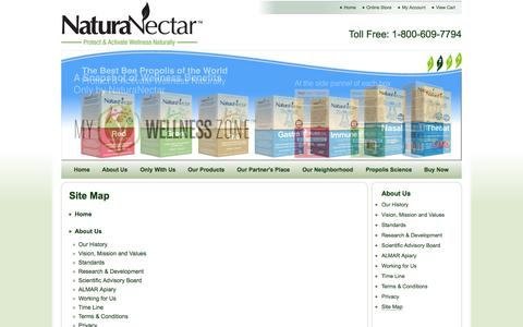 Screenshot of Site Map Page naturanectar.com - NaturaNectar™: Natural Supplements From Brazilian Red Propolis   Site Map - captured Oct. 4, 2014