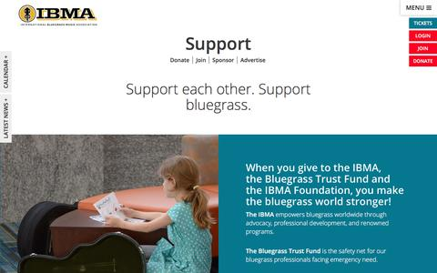 Screenshot of Support Page ibma.org - Support - IBMA - captured Aug. 3, 2018