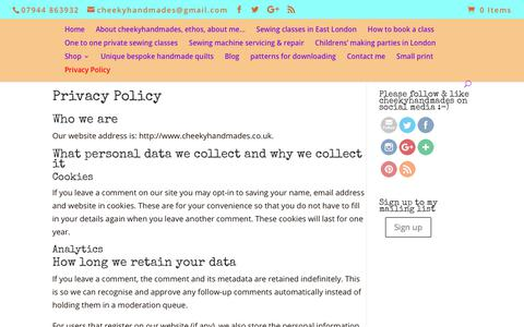 Screenshot of Privacy Page cheekyhandmades.co.uk - Privacy Policy - captured July 24, 2018
