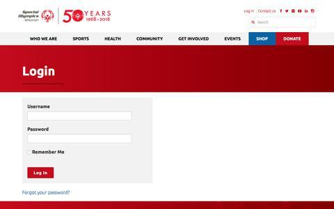 Screenshot of Login Page specialolympicswisconsin.org - Login - Special Olympics Wisconsin - captured Sept. 21, 2018