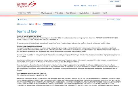 Screenshot of Terms Page contactsingapore.sg - Terms of Use - Contact Singapore - captured Sept. 23, 2014