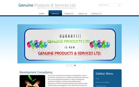 Screenshot of Services Page genuineproductsltd.com - Genuine Products & Services Ltd. | Services - captured Nov. 5, 2016