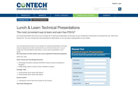 Contech Lunch & Learn Technical Presentations