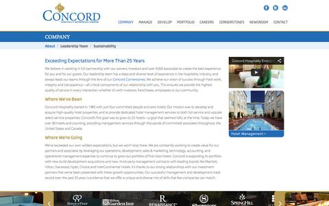 Screenshot of About Page concordhotels.com - Concord Hospitality :: Company - captured Oct. 2, 2014