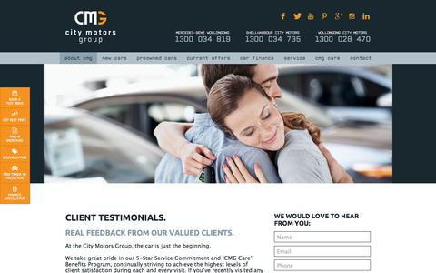 Screenshot of Testimonials Page citymotorsgroup.com.au - Testimonials | City Motors Group - captured July 21, 2015
