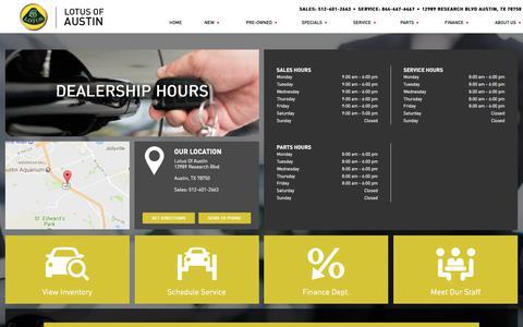 Screenshot of Hours Page lotusofaustin.com - Hours of Operation - Lotus of Austin - captured Jan. 15, 2018