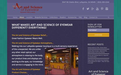 Screenshot of About Page artandscienceofeyewear.com - The Art and Science of Eyewear Difference - captured Dec. 26, 2015