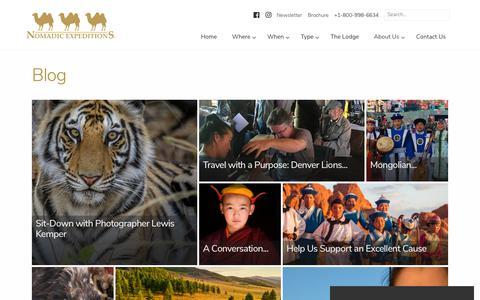 Screenshot of Blog nomadicexpeditions.com - Nomadic Expeditions Blog | Luxury Journeys Mongolia, Bhutan, Tibet - captured Oct. 20, 2018