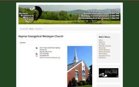 Screenshot of Contact Page keymarwesleyan.org - Contact Us - captured Oct. 6, 2014