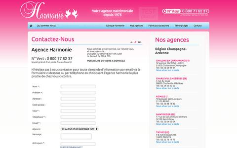 Screenshot of Contact Page agence-harmonie.fr - Agence Harmonie Contact - captured Sept. 30, 2014