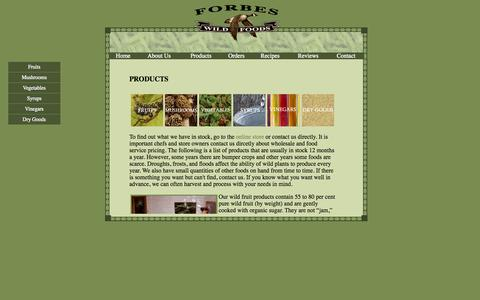 Screenshot of Products Page wildfoods.ca - Forbes Wild Food - captured Oct. 6, 2014