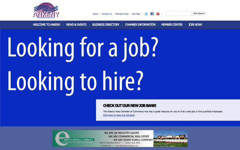 Screenshot of Home Page ankeny.org - Ankeny Area Chamber of Commerce | Ankeny Area Chamber of Commerce - captured Sept. 16, 2015