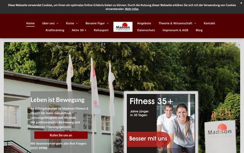 Screenshot of Home Page madison-fitness.de - Willkommen im Madison Fitness & Health in Hildesheim! - captured Oct. 30, 2018