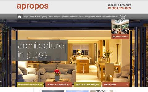Screenshot of Home Page aproposconservatories.co.uk - Conservatories | Bespoke Orangeries Range | Apropos Conservatories - captured Sept. 24, 2014