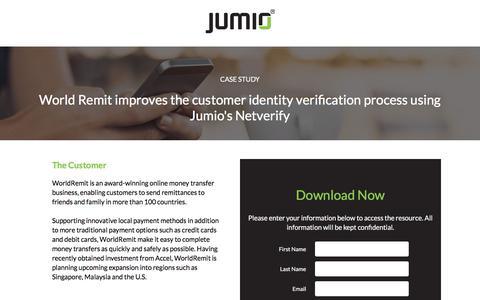 Screenshot of Landing Page jumio.com - Case Study: World Remit improves the customer identity verification process using Jumio's Netverify - captured April 1, 2018