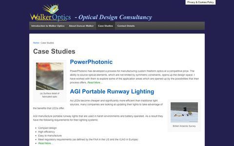 Screenshot of Case Studies Page walker-optics.com - Portfolio of Case Studies for Optical Engineering   Walker Optics - captured Nov. 10, 2017
