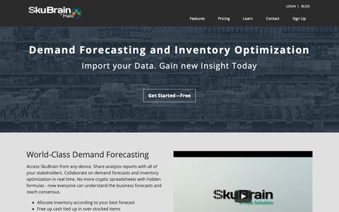 Screenshot of Home Page skubrain.com - Demand Forecasting and Inventory Optimization | SkuBrain - captured Oct. 17, 2018
