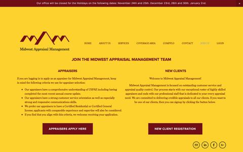 Screenshot of Jobs Page midwestamc.com - JOIN US — Midwest Appraisal Management - captured Nov. 28, 2016