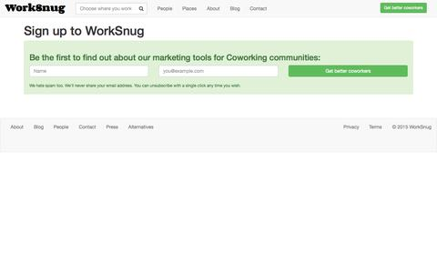 Screenshot of Signup Page worksnug.com - Untitled on WorkSnug - captured Sept. 24, 2015