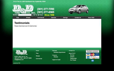 Screenshot of Testimonials Page ddtires.com - D&D Tires - Testimonials - captured Oct. 2, 2014