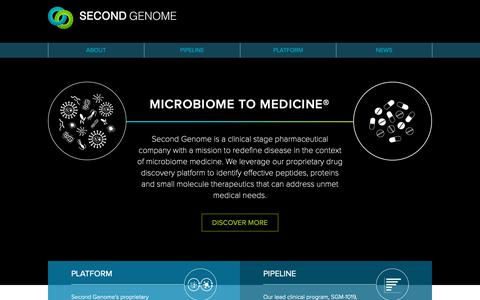 Screenshot of Home Page secondgenome.com - Second Genome   Home - captured Jan. 11, 2019