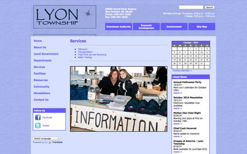 Screenshot of Services Page lyontwp.org - Lyon Township - Services - captured Oct. 3, 2014
