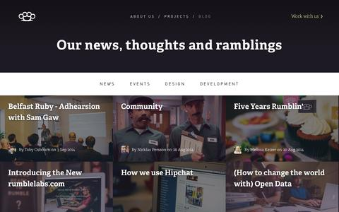 Screenshot of Blog rumblelabs.com - Blog | Rumble Labs - App design and development for the web, iOS and Mac in Belfast, Northern Ireland. - captured Sept. 30, 2014
