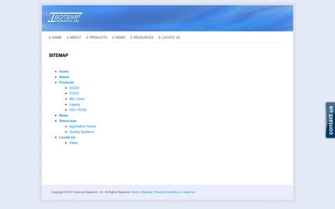 Screenshot of Site Map Page isotemp.com - Sitemap | ISOTEMP - captured Oct. 6, 2014