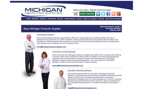 Screenshot of About Page michigancomputersupplies.com - About Michigan Computer Supplies | Managed Print Services | Printer Toner | Computer Repair Ann Arbor - captured Oct. 27, 2014